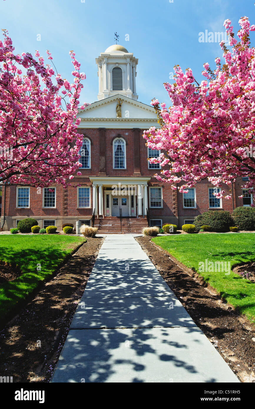 Morris County Courthouse During Spring Bloom, New Jersey - Stock Image