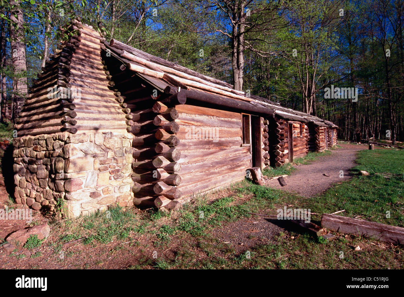 Reproduction Soldier Huts of the Continental Army, Jockey Hollow, Morristown National Historical Park, New Jersey - Stock Image