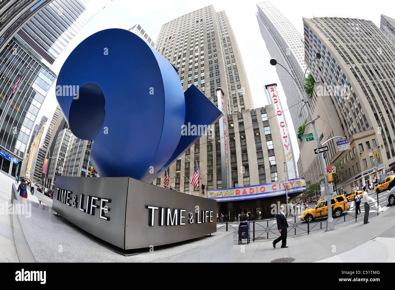 """Time & Life """"Cubed Curve"""" outdoor blue sculpture across street from Radio City New York City 2011 (180 degree fisheye Stock Photo"""