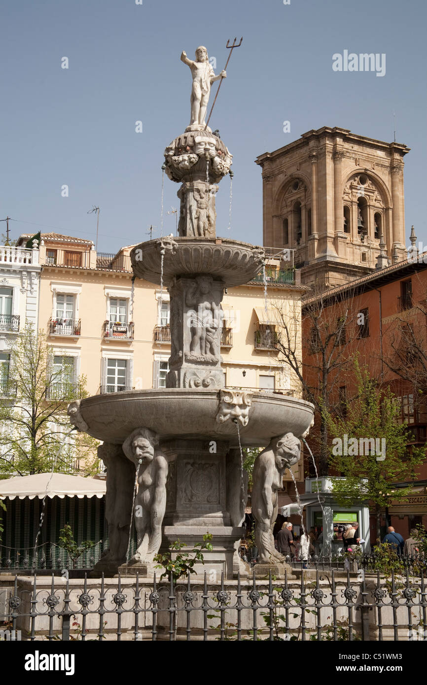 Granada Spain water fountain Poseidon statue god of sea Plaza Bib-Rambla - Stock Image