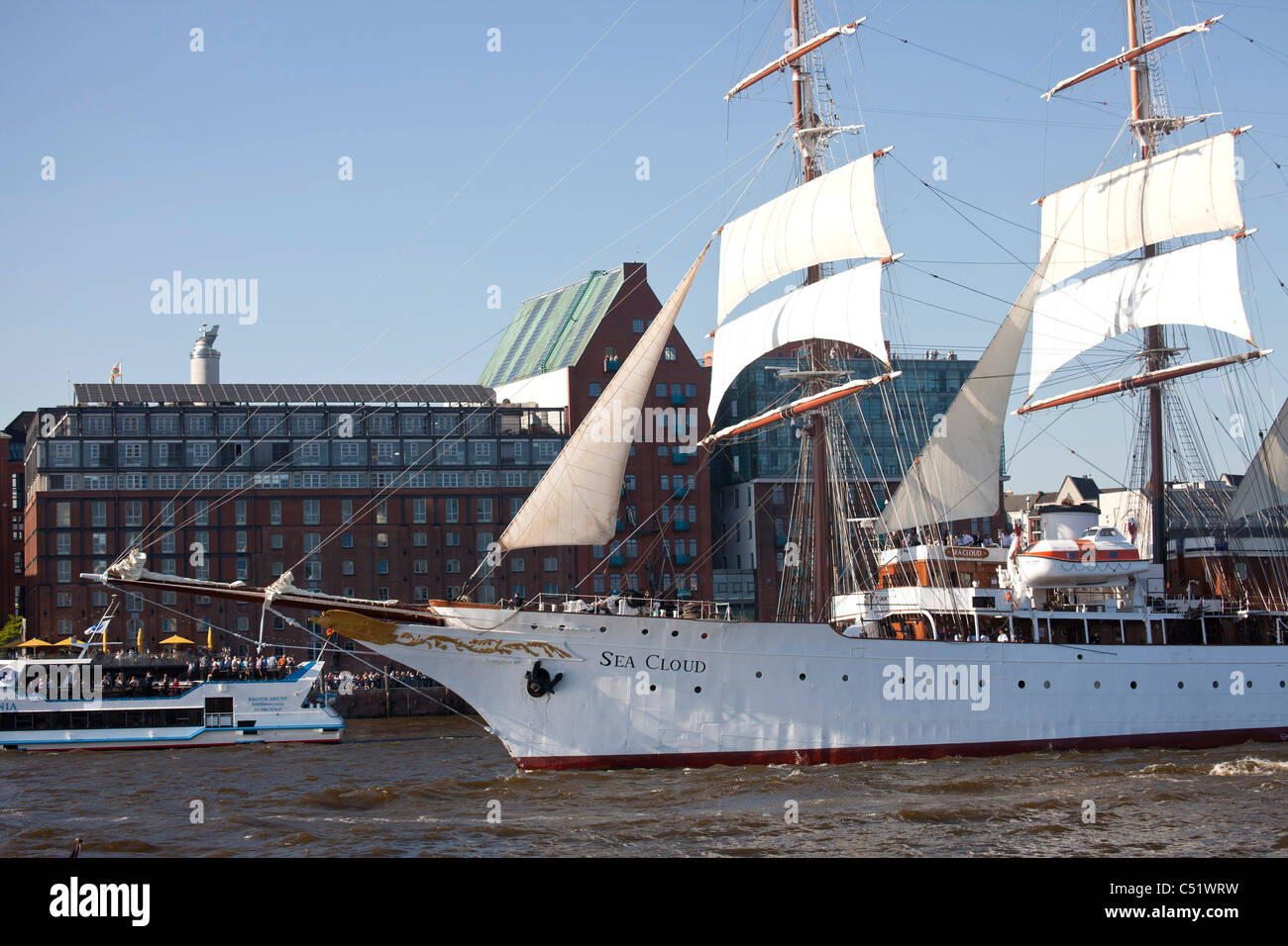 Sea Cloud at the Harbour Birthday 2011 in the free and Hanseatic City of Hamburg, Germany - Stock Image