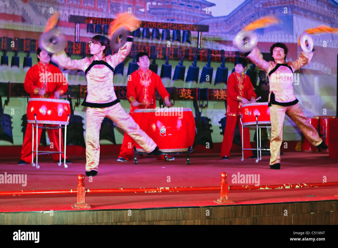 Drumming Show in the Drum Tower, Xian City, Shaanxi, China - Stock Image
