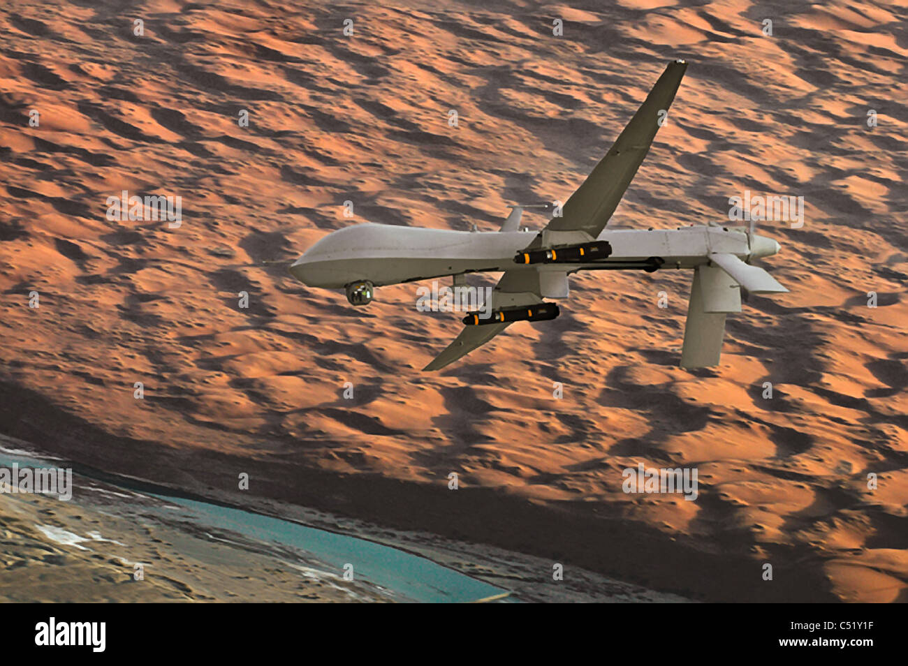 An MQ 1 Predator Unmanned Aircraft Armed With AGM 114 Hellfire Missiles