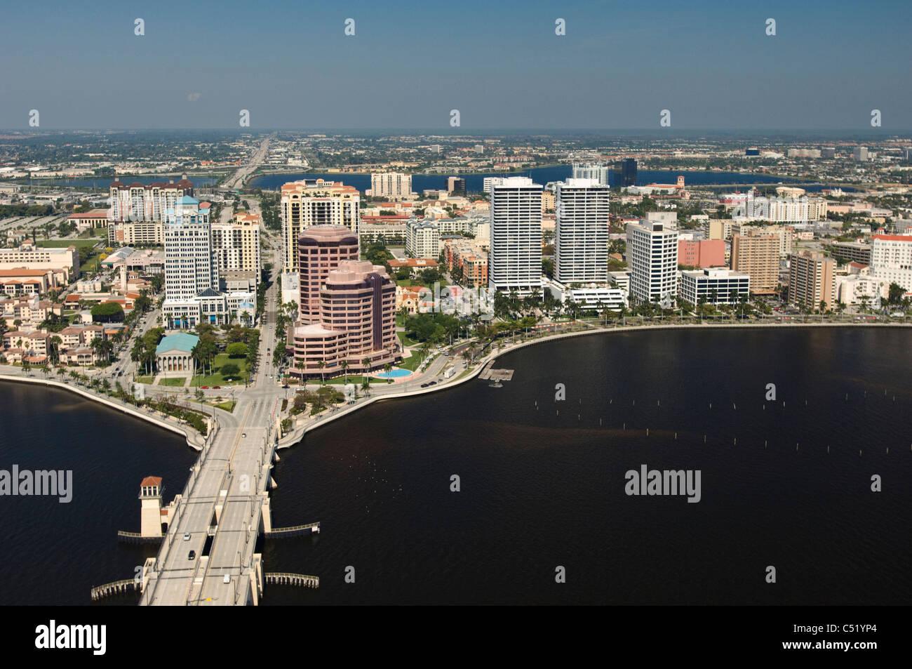 West Palm Beach , Florida downtown city buildings and Royal PArk Bridge - Stock Image