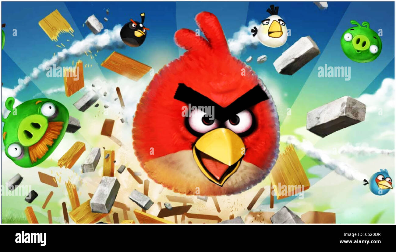 angry birds game start loading screen - Stock Image