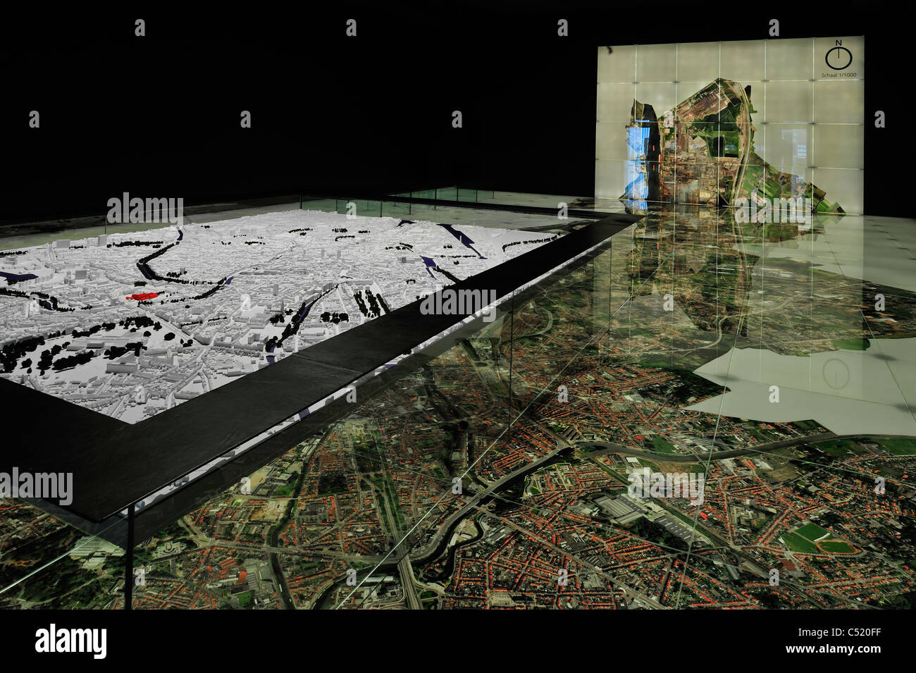 Scale-model and aerial photo of the town Ghent at STAM, the Ghent city museum, Belgium - Stock Image