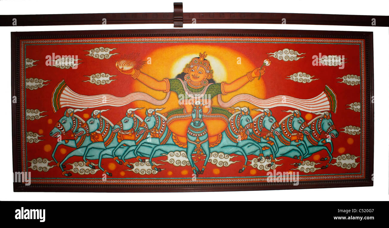painting of the Hindu sun god 'Surya' riding a chariot of nine horses (represents nine planets) - Stock Image