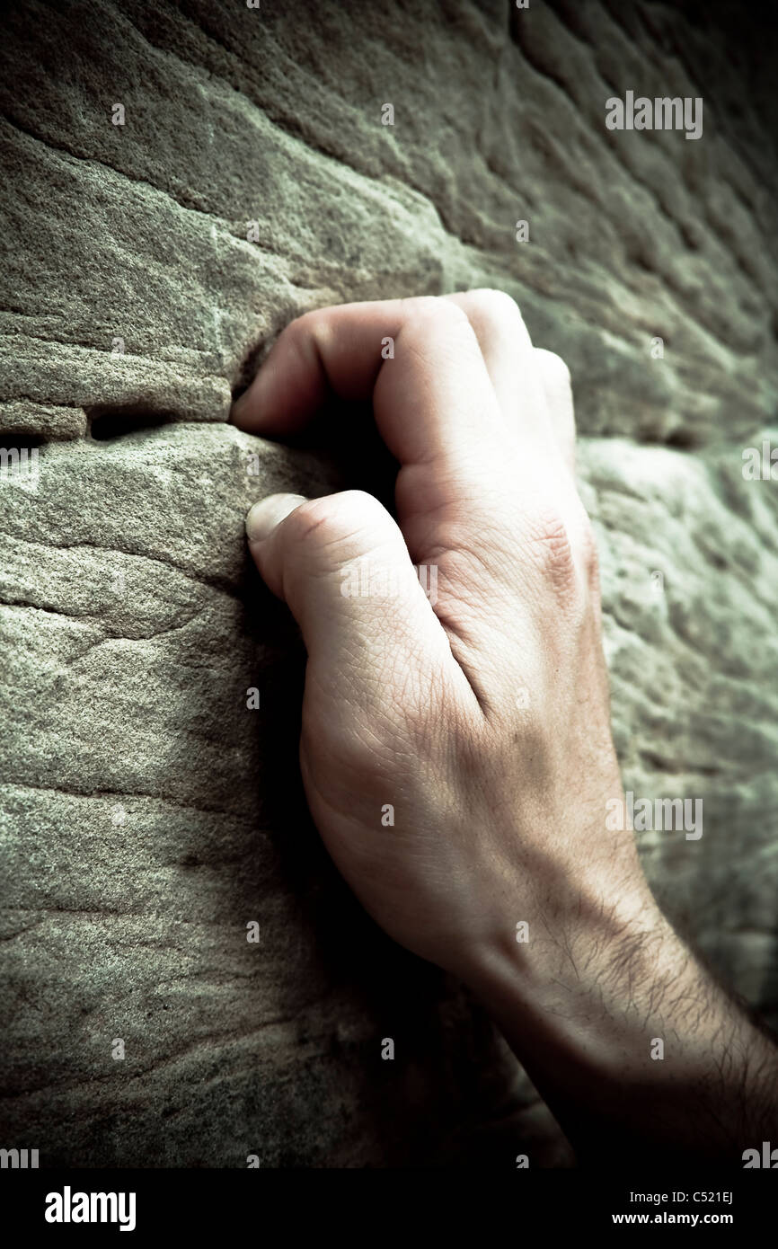 Hand of a climber, detail - Stock Image