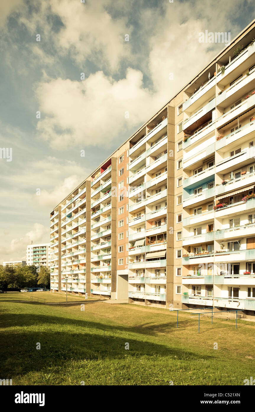 Prefab apartment building, housing estate, social housing, symmetry, settlement, Jena, Germany - Stock Image