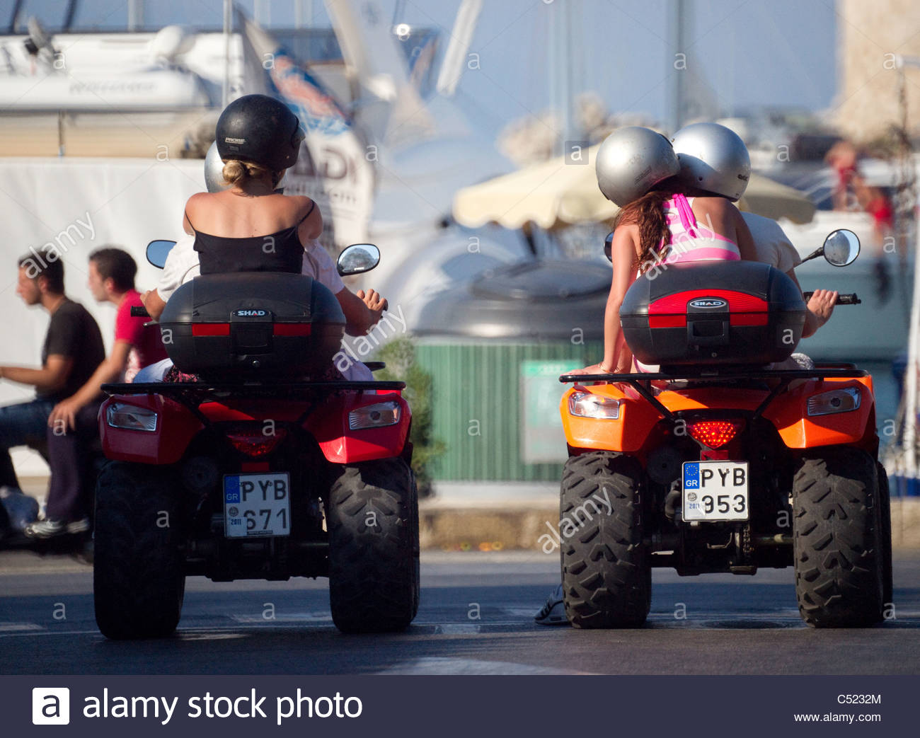 Tourists on rented Quad vehicles Rhodes Island Greece - Stock Image