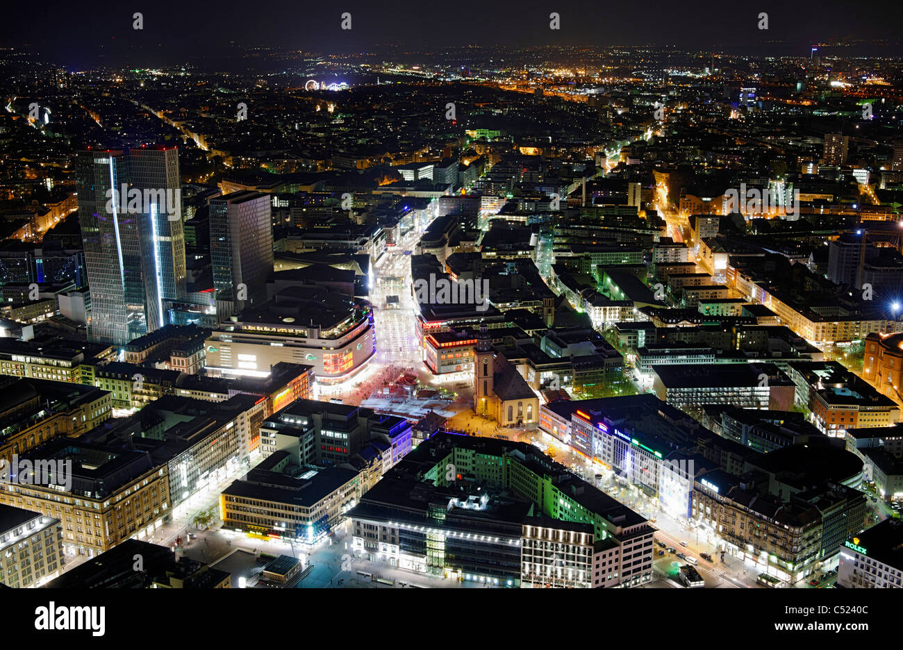 Panoramic view from the Main Tower across Frankfurt am Main at night, colorful lights, illumination, Frankfurt am Stock Photo
