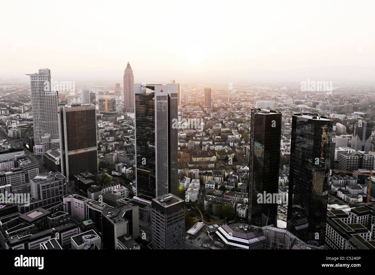 Panorama, financial district, creative, urban, diffuse light, Frankfurt am Main, Hesse, Germany, Europe - Stock Image