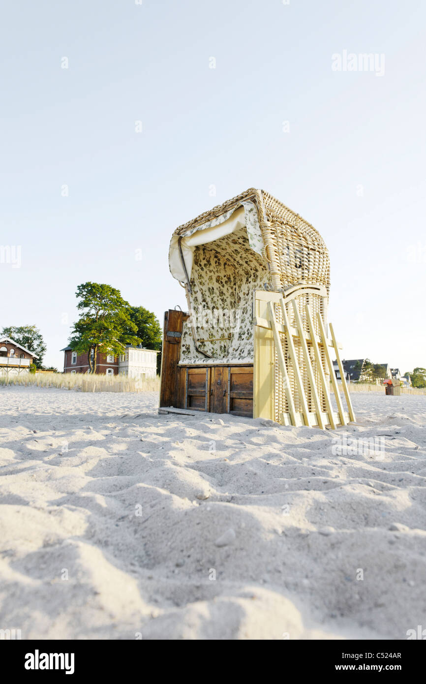 Roofed wicker beach chair on the beach, lifestyle, Niendorf at the Baltic Sea, Schleswig-Holstein, Germany, Europe Stock Photo