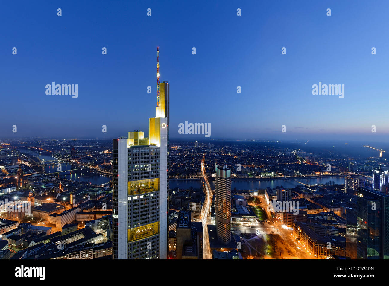 Panorama at dusk, facing south, Sachsenhausen, Main Tower, Frankfurt am Main, Hesse, Germany, Europe - Stock Image