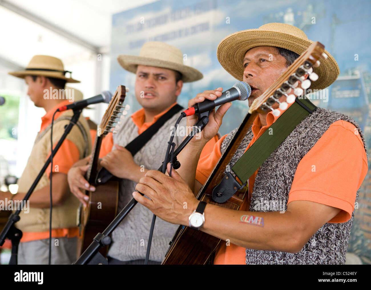 Colombian folk music band on stage - Stock Image