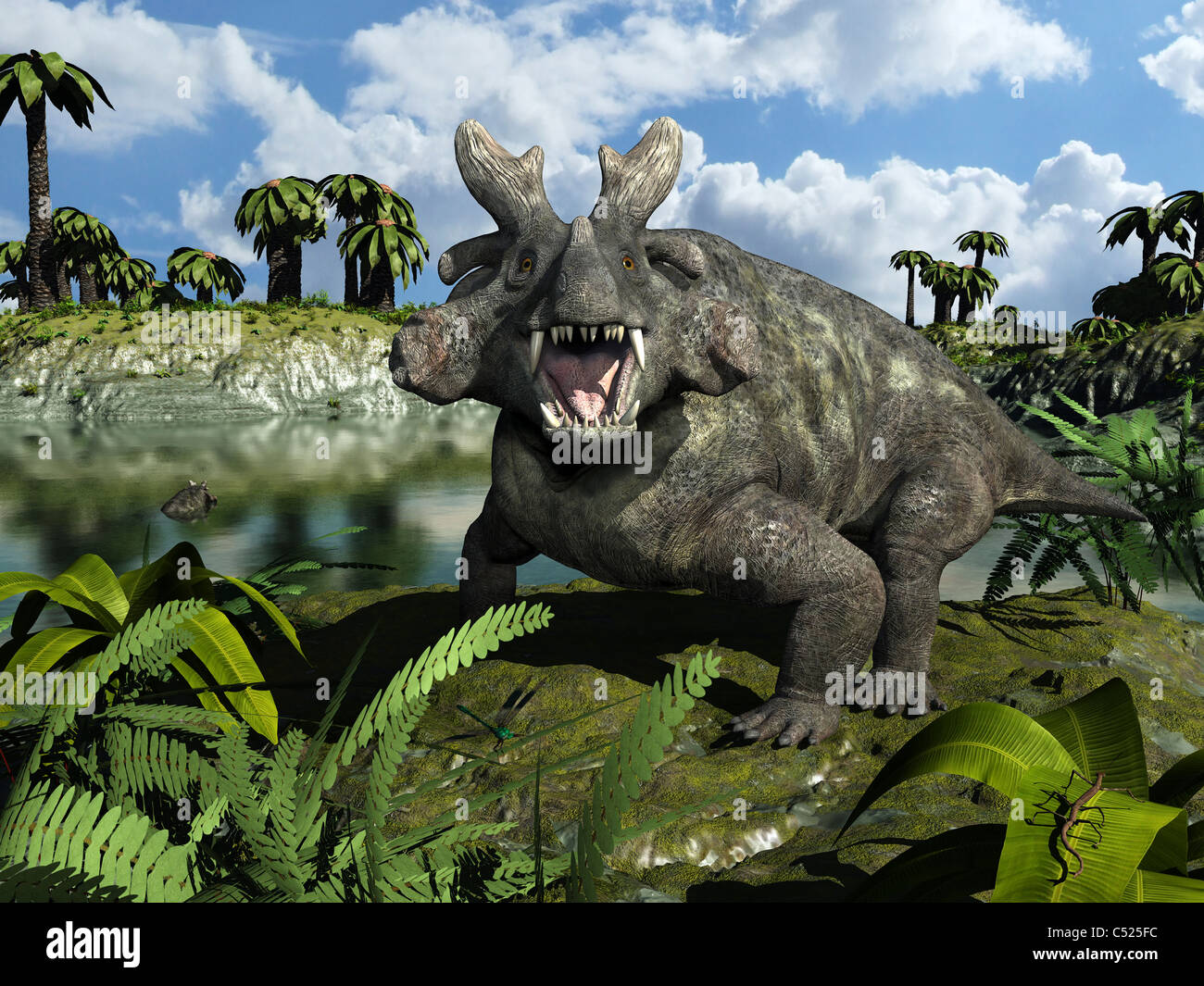 An Estemmenosuchus mirabilis stands before a lake 255 million years ago. - Stock Image