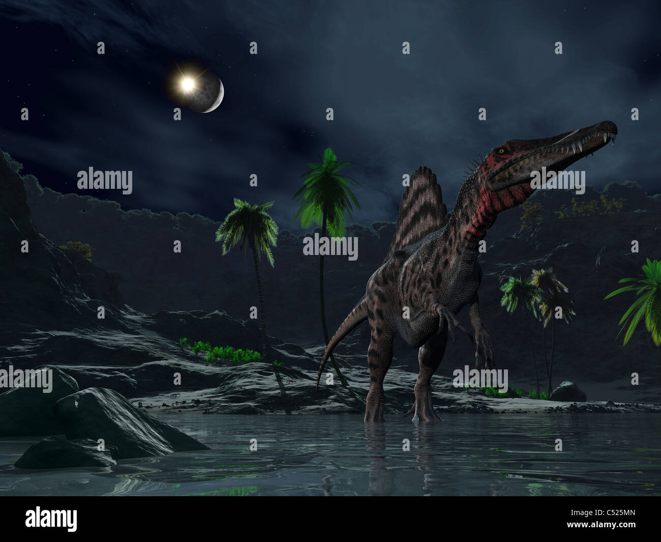 An asteroid impact on the moon while a Spinosaurus wanders in the foreground. - Stock Image