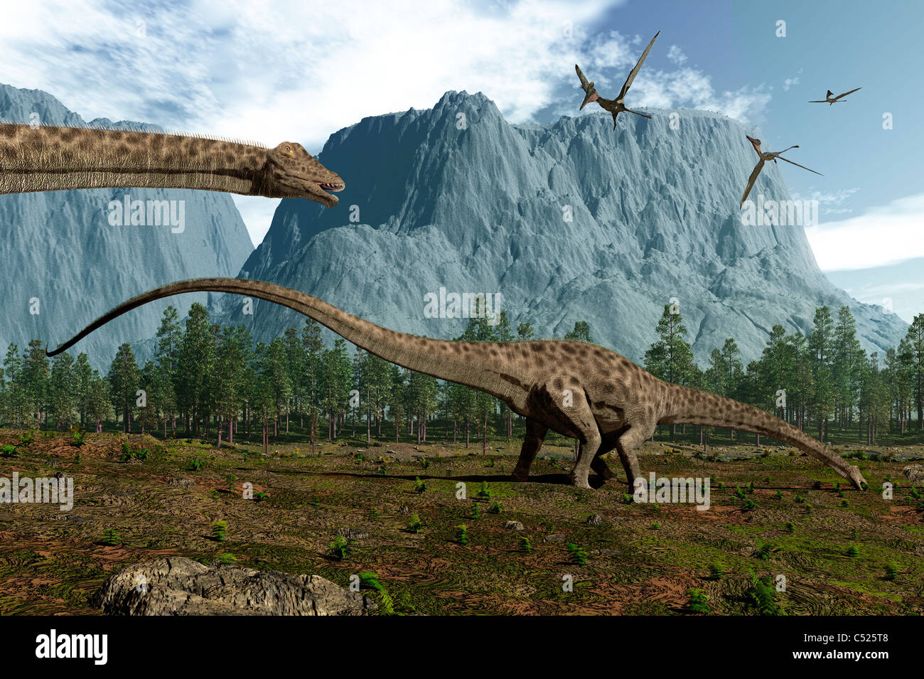 Diplodocus dinosaurs graze while pterodactyls fly overhead. - Stock Image