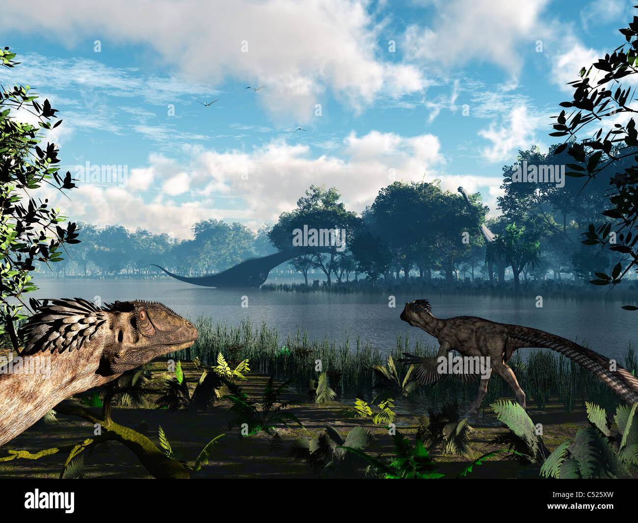 Sauroposeidon graze while feathered Deinonychus look on. - Stock Image