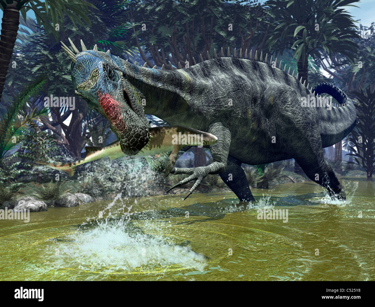 A Suchomimus snags a shark from a lush estuary. - Stock Image