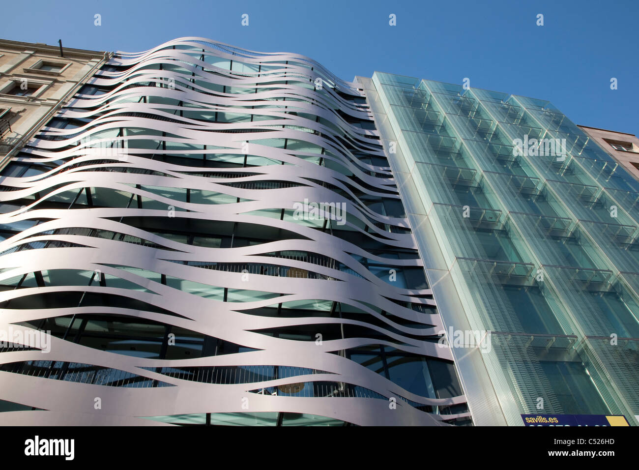 Modern Architecture Office Buildings on Passeig Gracia Street, Barcelona, Catalonia, Spain - Stock Image