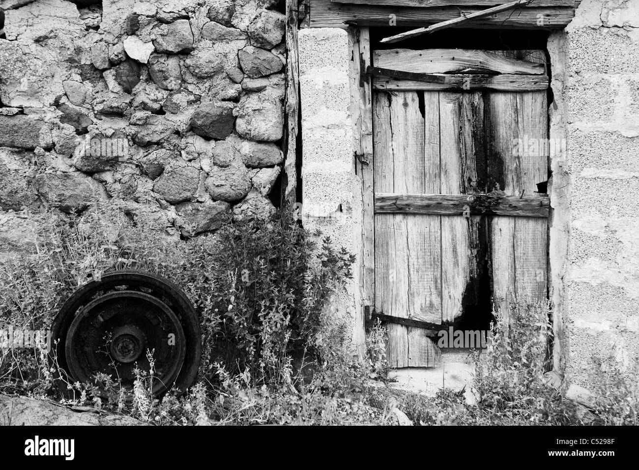 Still Life Image Of An Old Traditional Wooden Barn Door Stock Photo