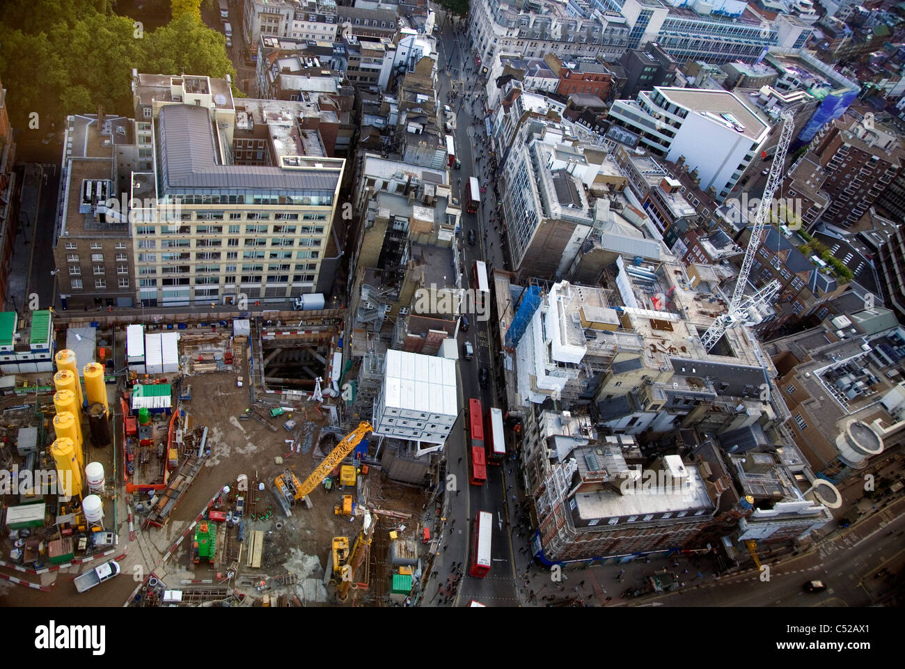 Works on the Crossrail and Underground upgrade at Tottenham Court Rd in London - Stock Image