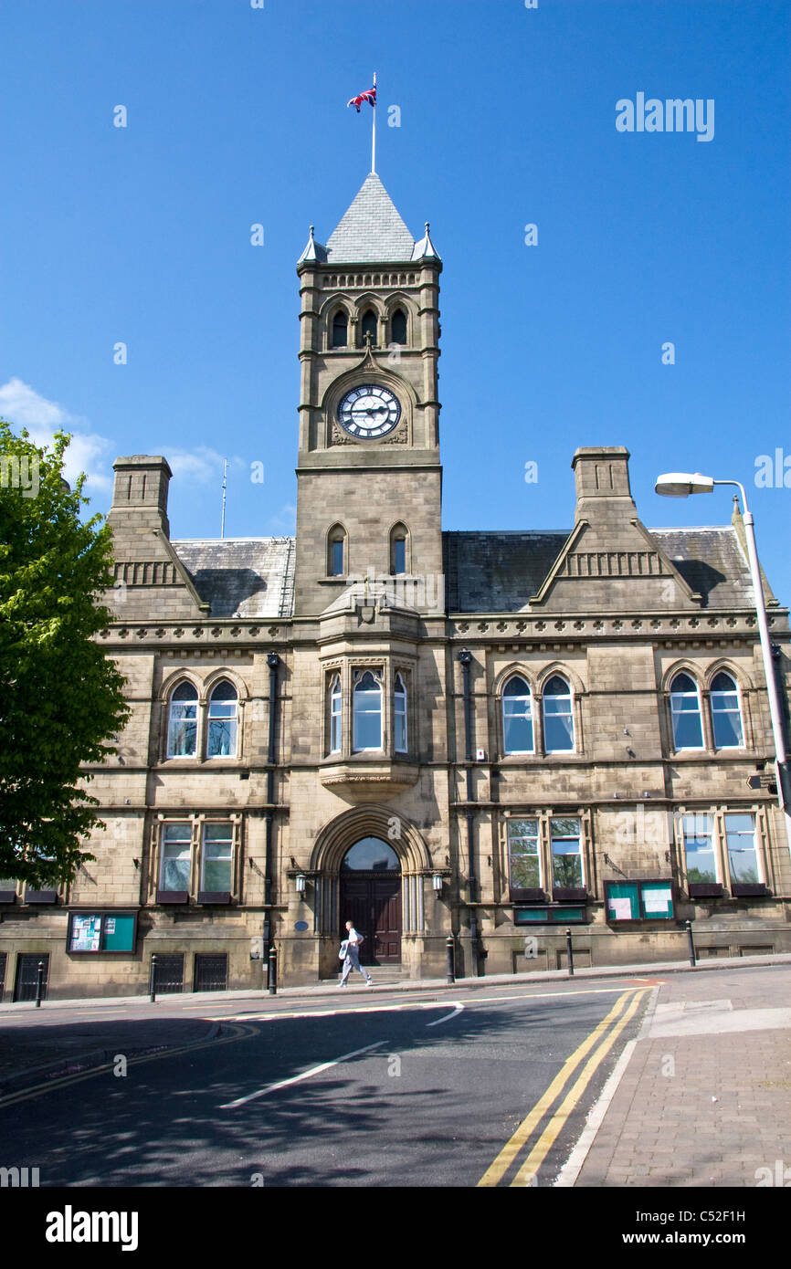 Town Hall, Colne, Lancashire, England,  UK.( Built 1894 - designed by Alfred Waterhouse, architect for Manchester - Stock Image