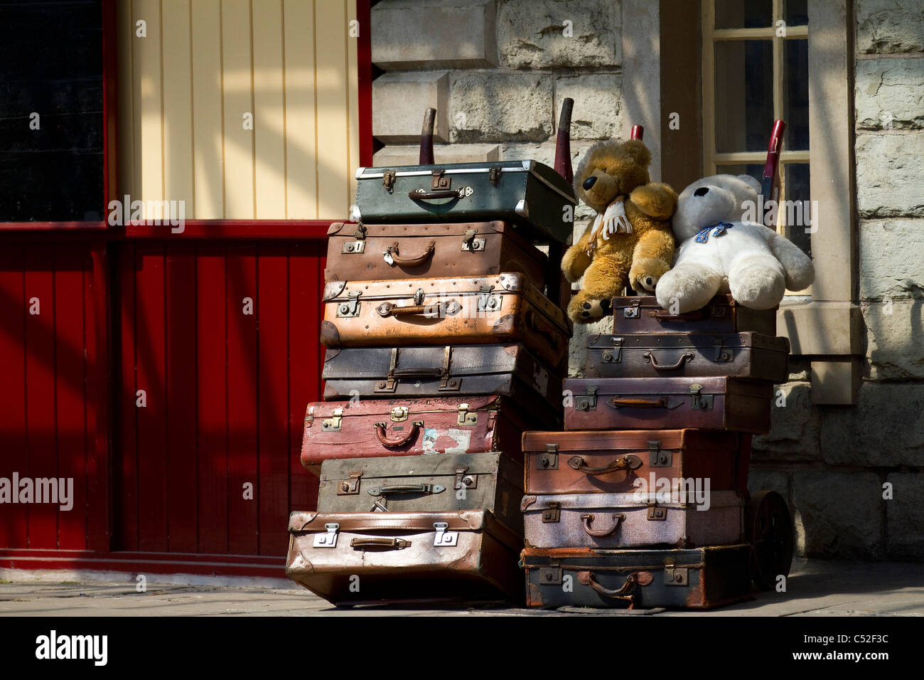Passengers Old Type vintage leather luggage cases at Ramsbottom Station platform. ELR East Lancashire Railway Heritage Stock Photo