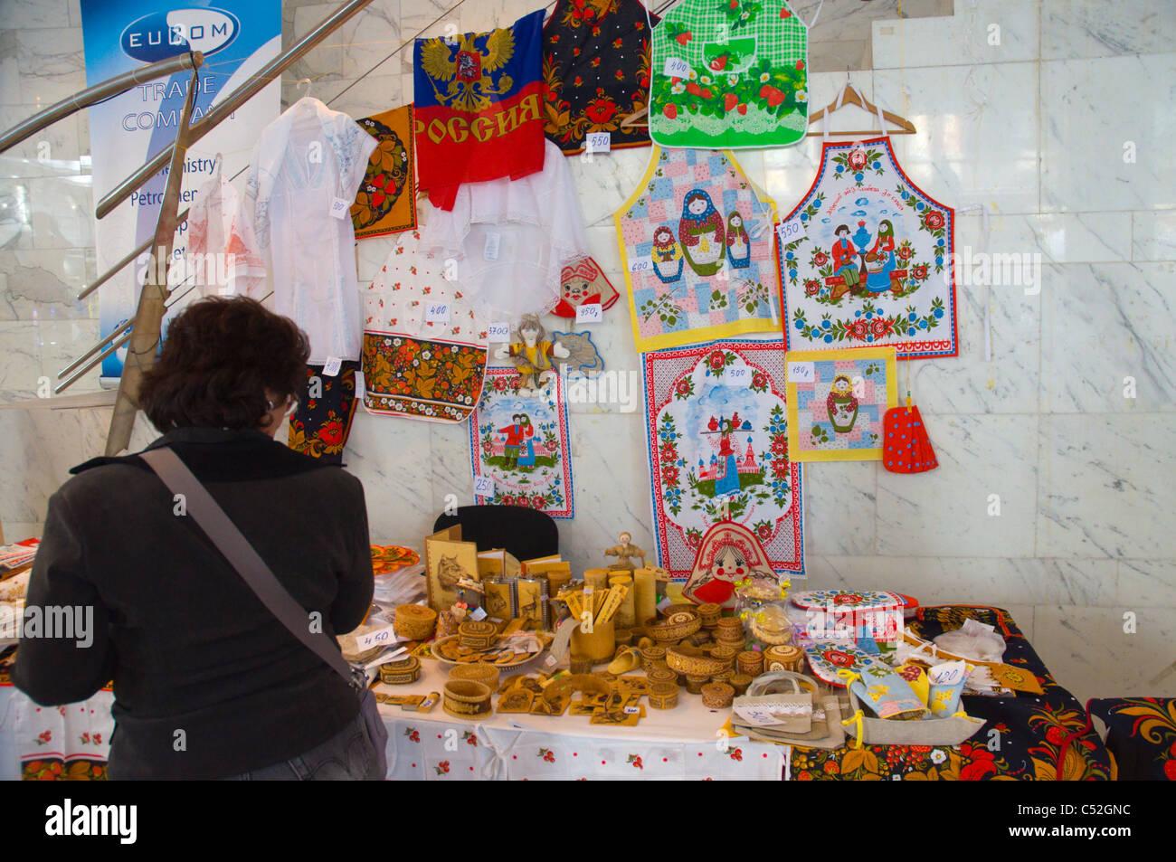 Russian handicrafts for sale Russian Serbian festival market along Knez Mihailova main street Belgrade capital of - Stock Image