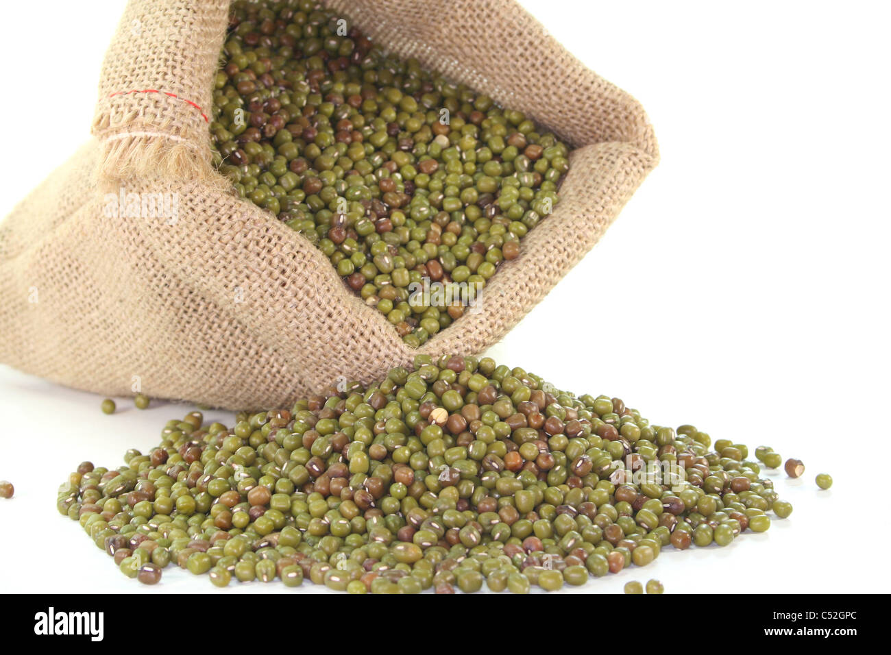 a sack of mungo beans on white background - Stock Image