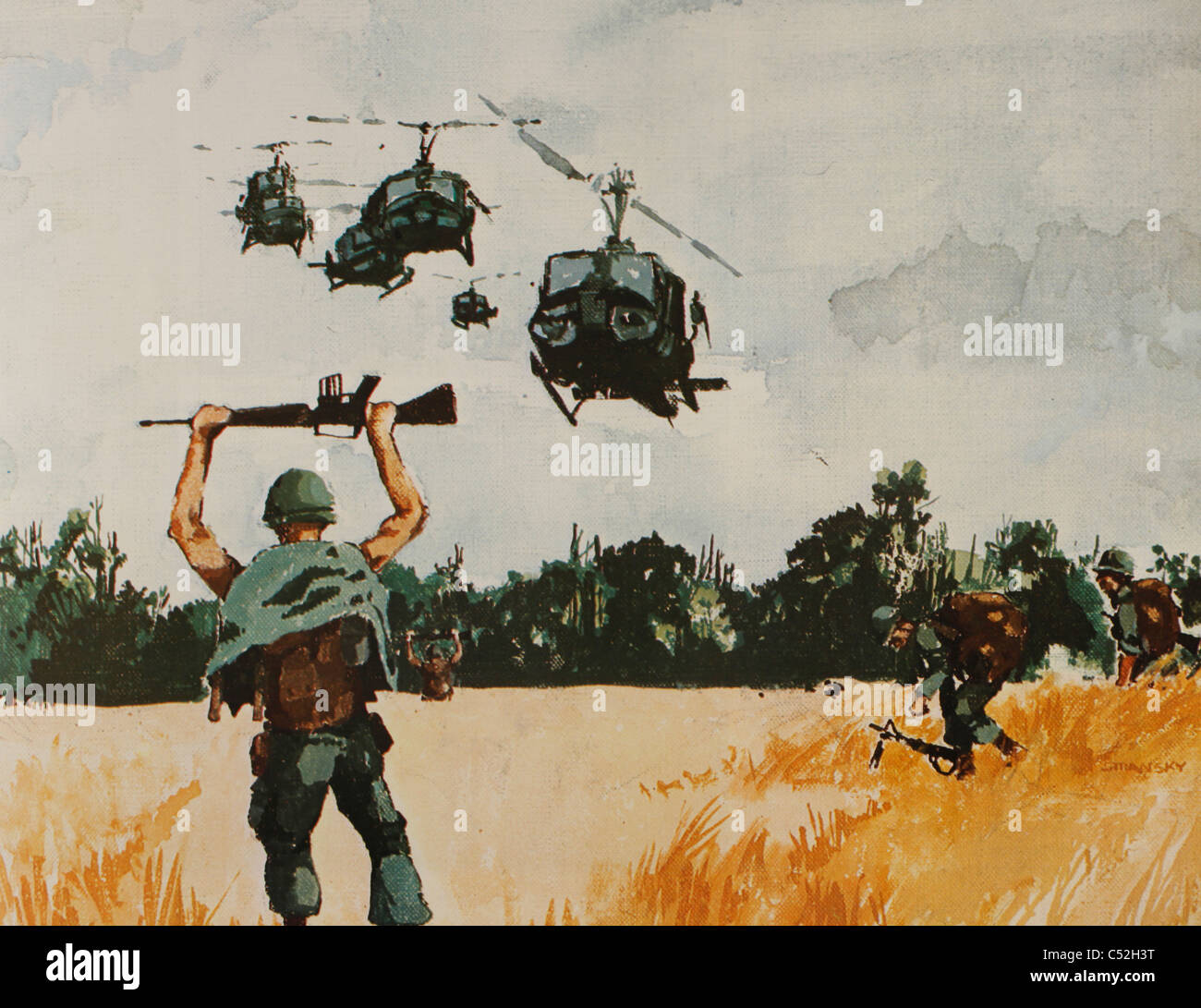reproduction of Watercolor painting printed in 1st Air Cavalry brochure from the Vietnam War. helicopter extraction - Stock Image
