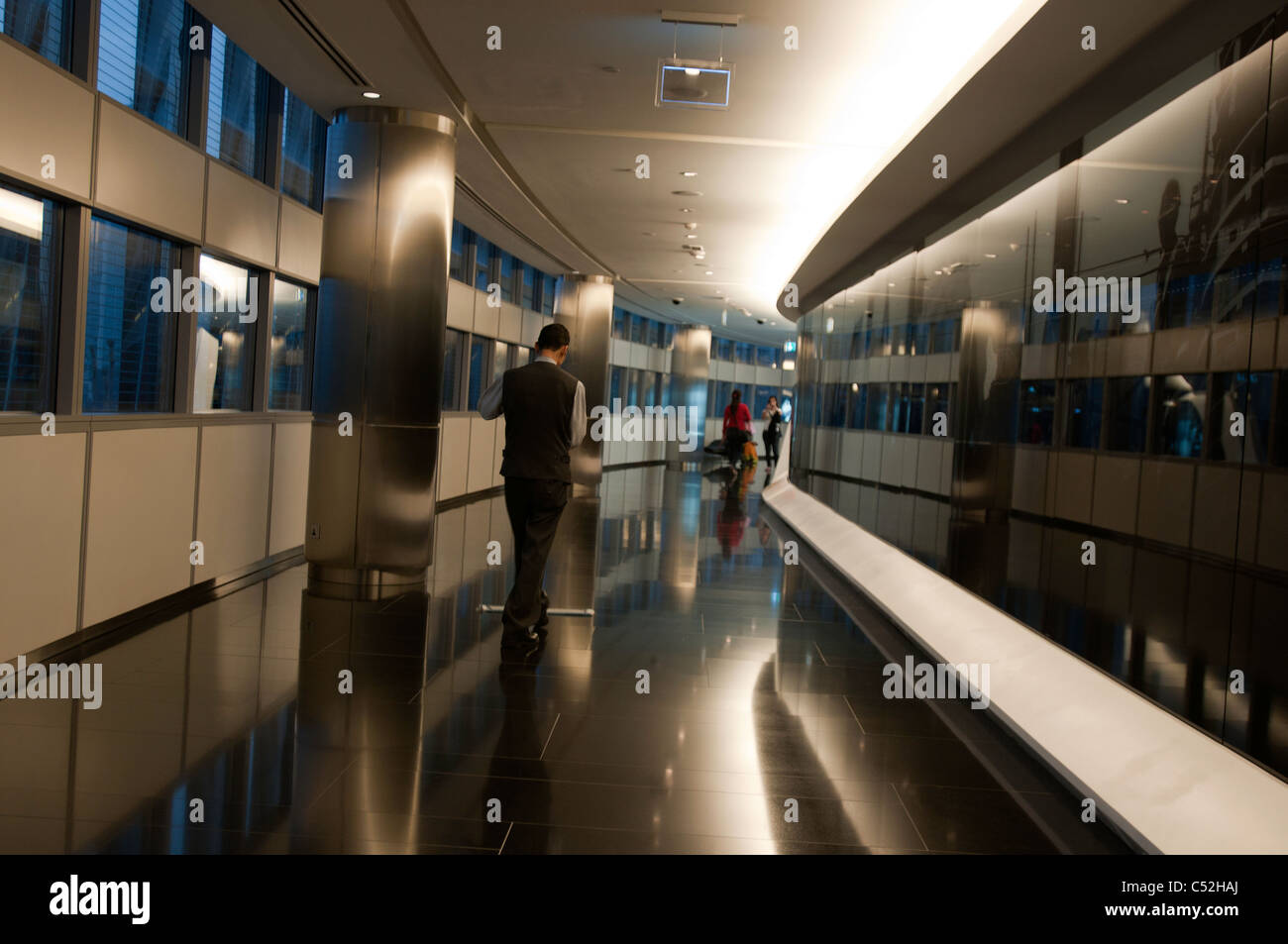 A gleaming corridor in Burj Khalifa - Stock Image