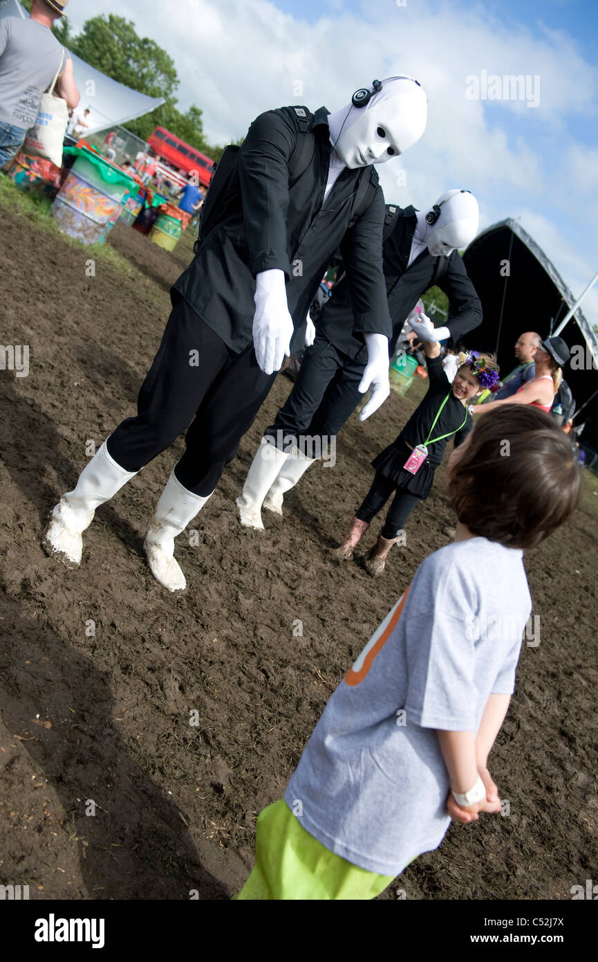 mime artists at glastonbury festival - Stock Image