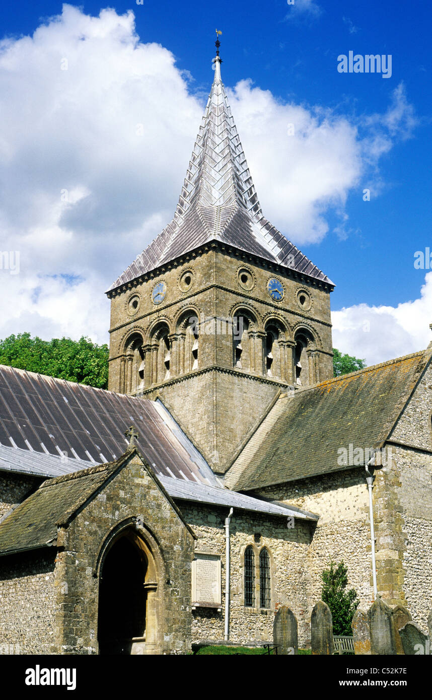 East Meon, All Saints Church, Hampshire England UK English churches Meon Valley central Norman tower - Stock Image