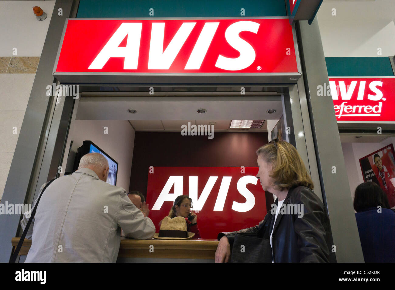 Car Rental Reno Airport: AVIS Car Rental Desk, Bari Airport, Italy Stock Photo