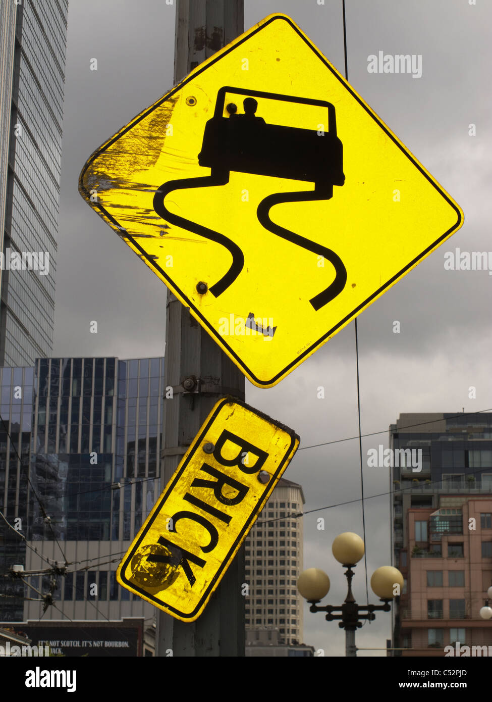 Strange Road Sign in Seattle, Washington, USA Stock Photo