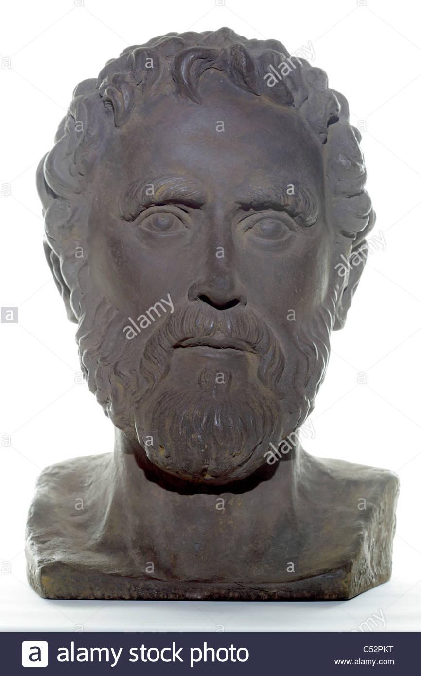 ornamental bust of Aristotle (384 B.C. -322 B.C.) Greek philosopher - Stock Image