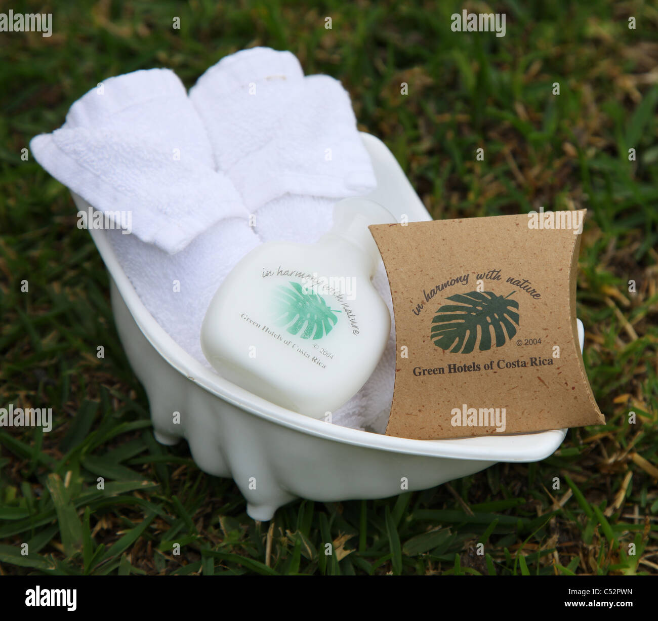 Environmentally good soap and shampoo from green hotels of Costa Rica - Stock Image