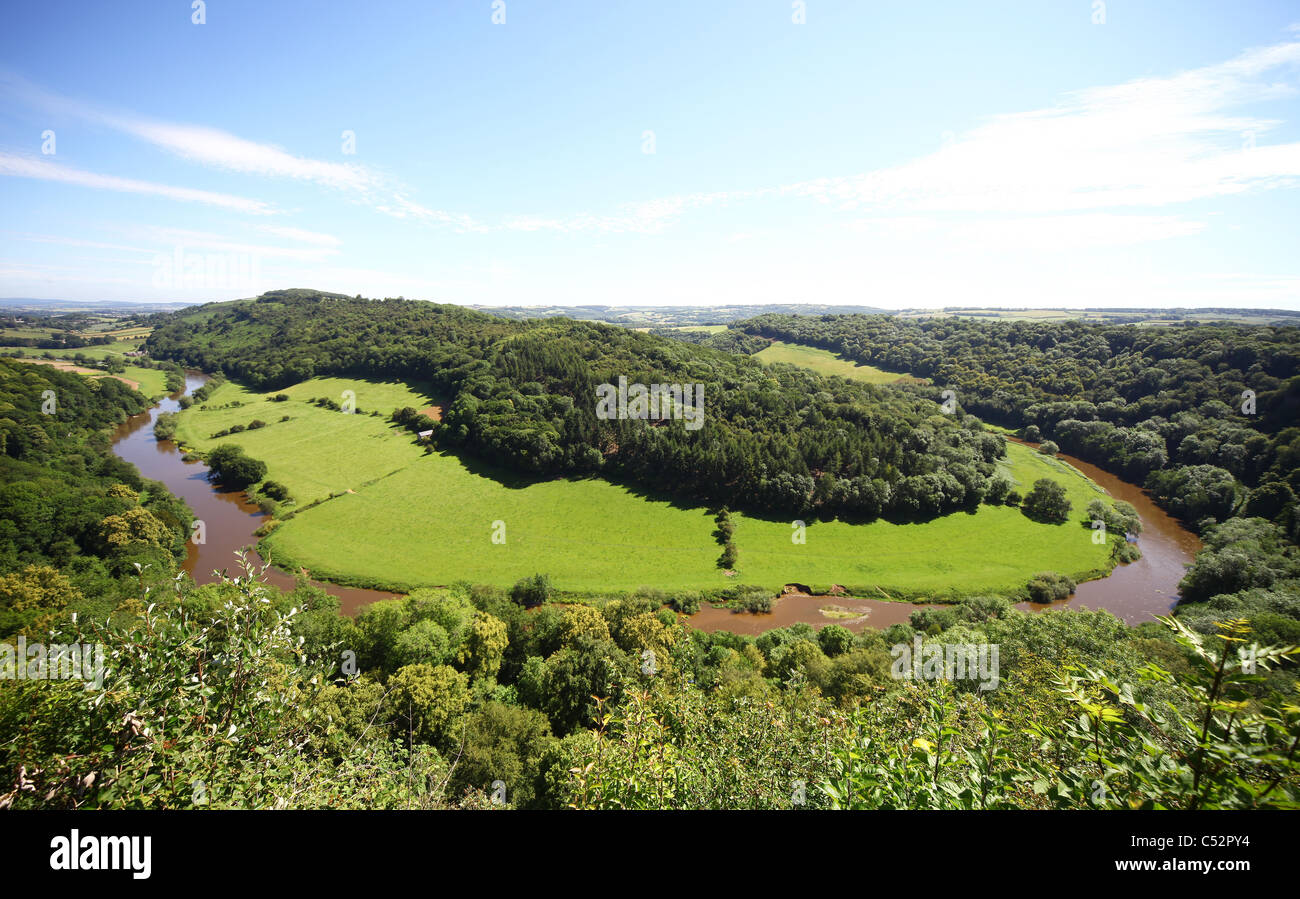The River Wye Valley from Symonds Yat rock, Herefordshire, England, UK - Stock Image