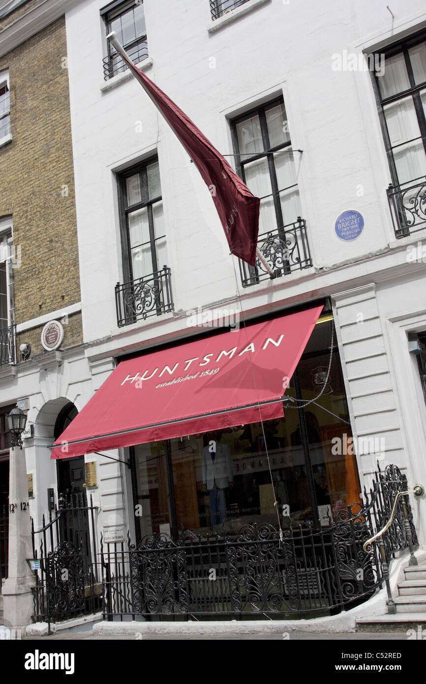 HUNTSMAN, one of the oldest tailoring establishments in Savile Row having traded for 160 years, viewed here at a - Stock Image