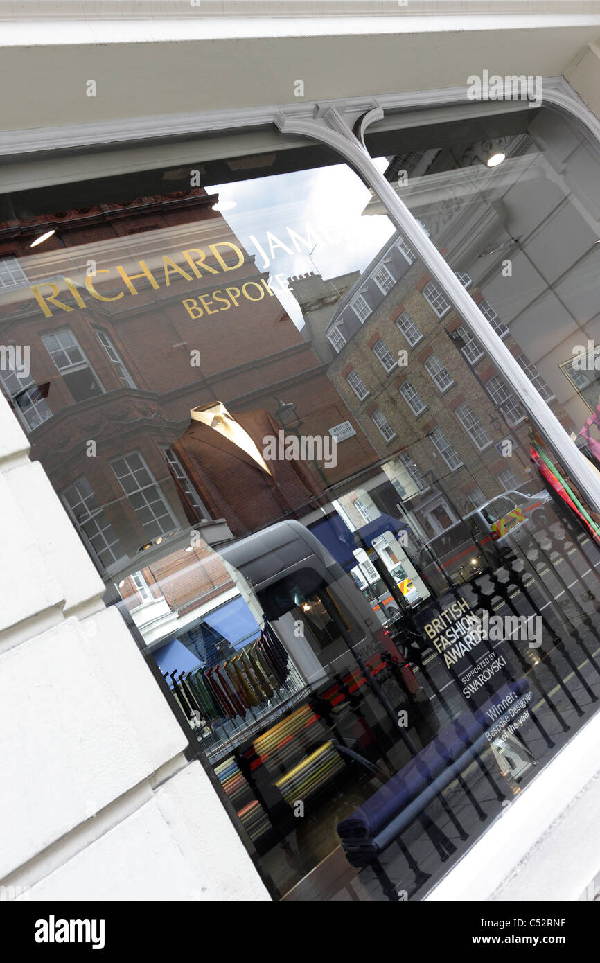 RICHARD JAMES, bespoke tailors and retailer of mens clothing, situated off of Saville Row, London`s renown tailoring - Stock Image