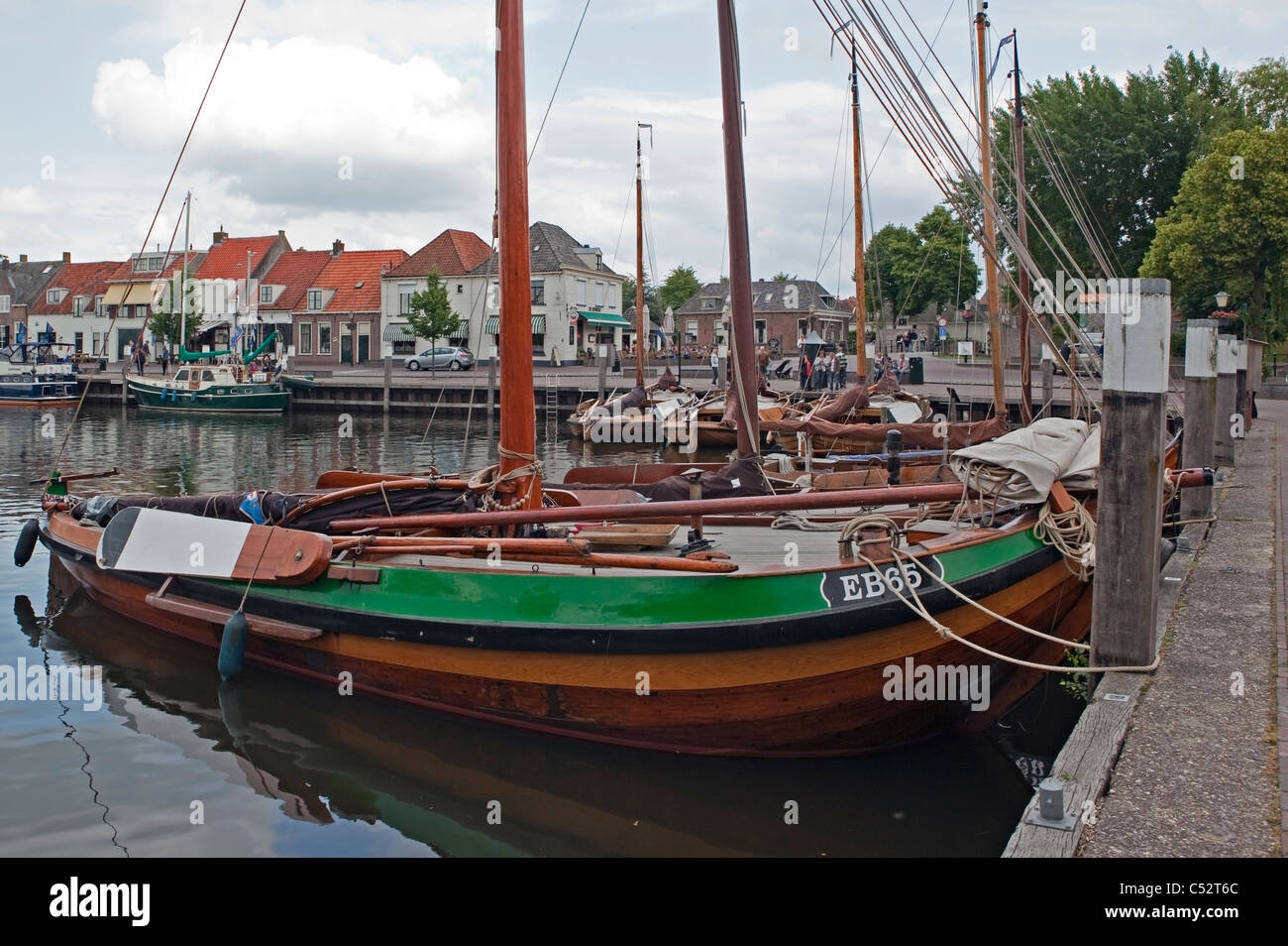 Old Dutch Fishing Boats in Elburg Harbour - Stock Image
