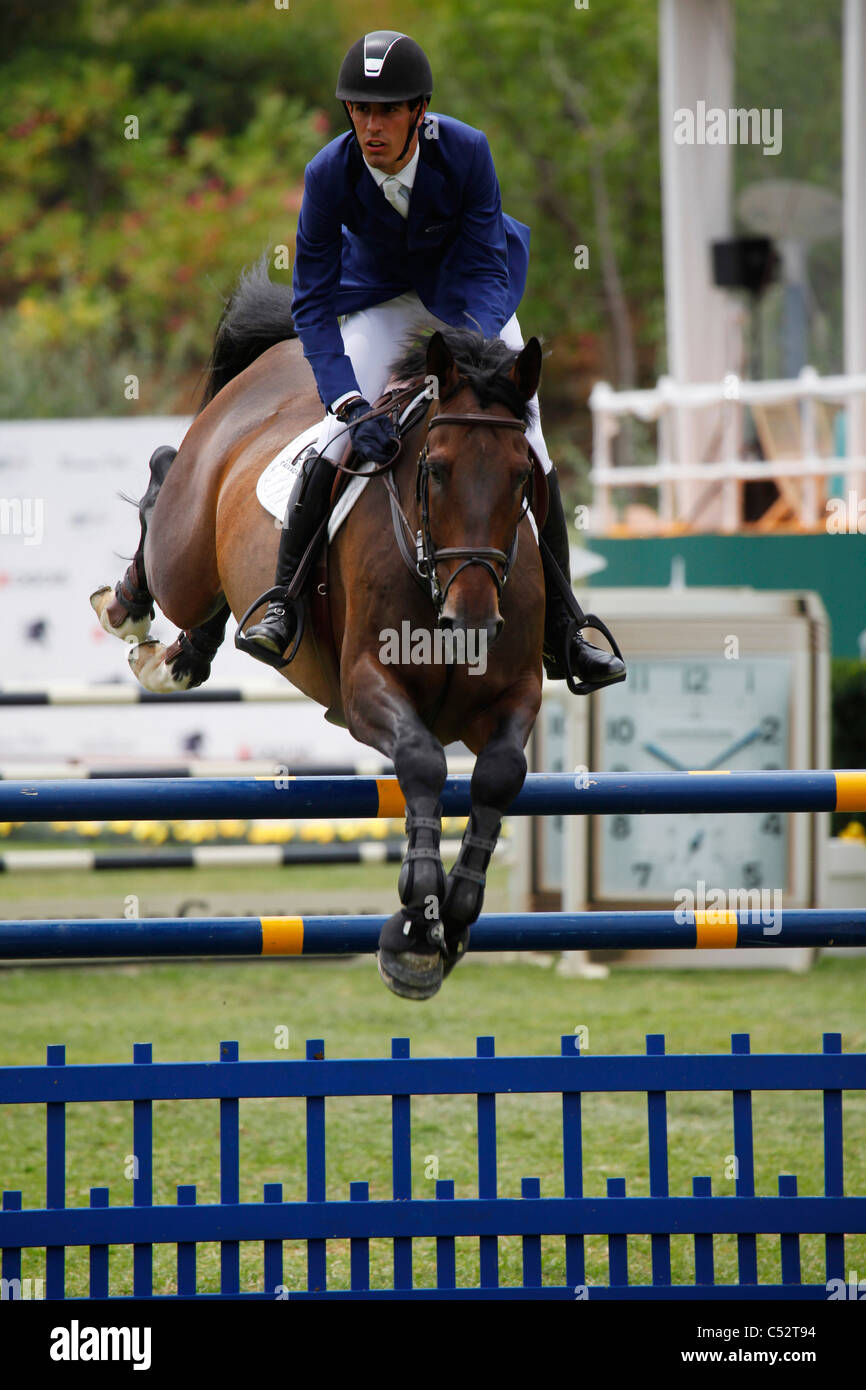 Manuel Anon Suarez from Spain in action on the horse Loreal D'Utah. - Stock Image