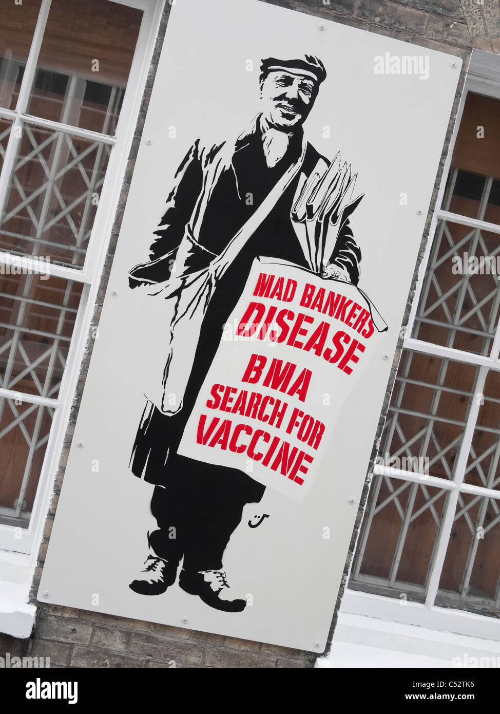 mad bankers disease poster - Stock Image