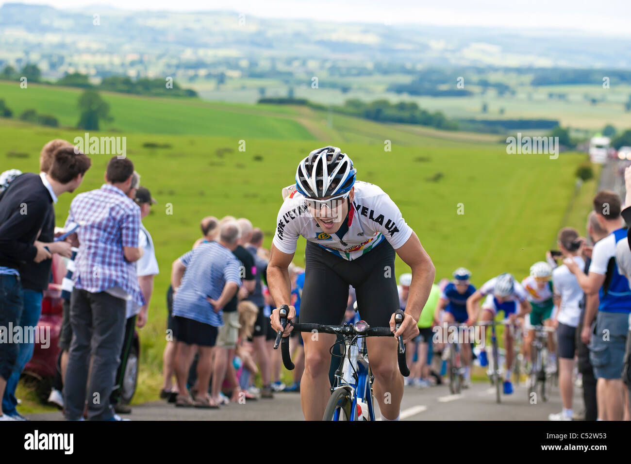 Matt Jones from Team Raleigh climbing the Ryals in Northumberland during the British National road cycling championship - Stock Image