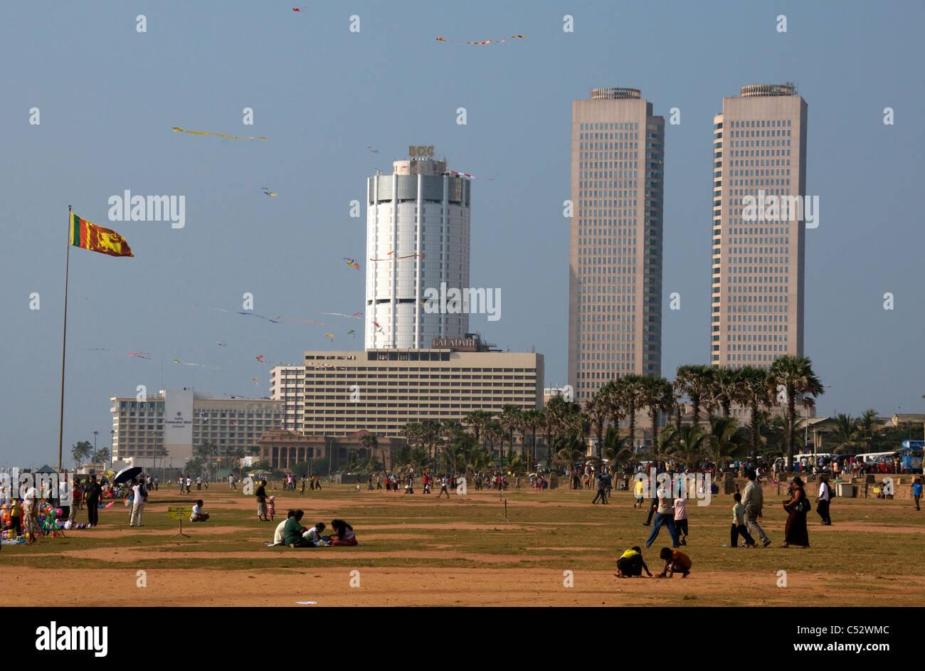 Kite fliers Galle Face Green Colombo Sri Lanka Stock Photo