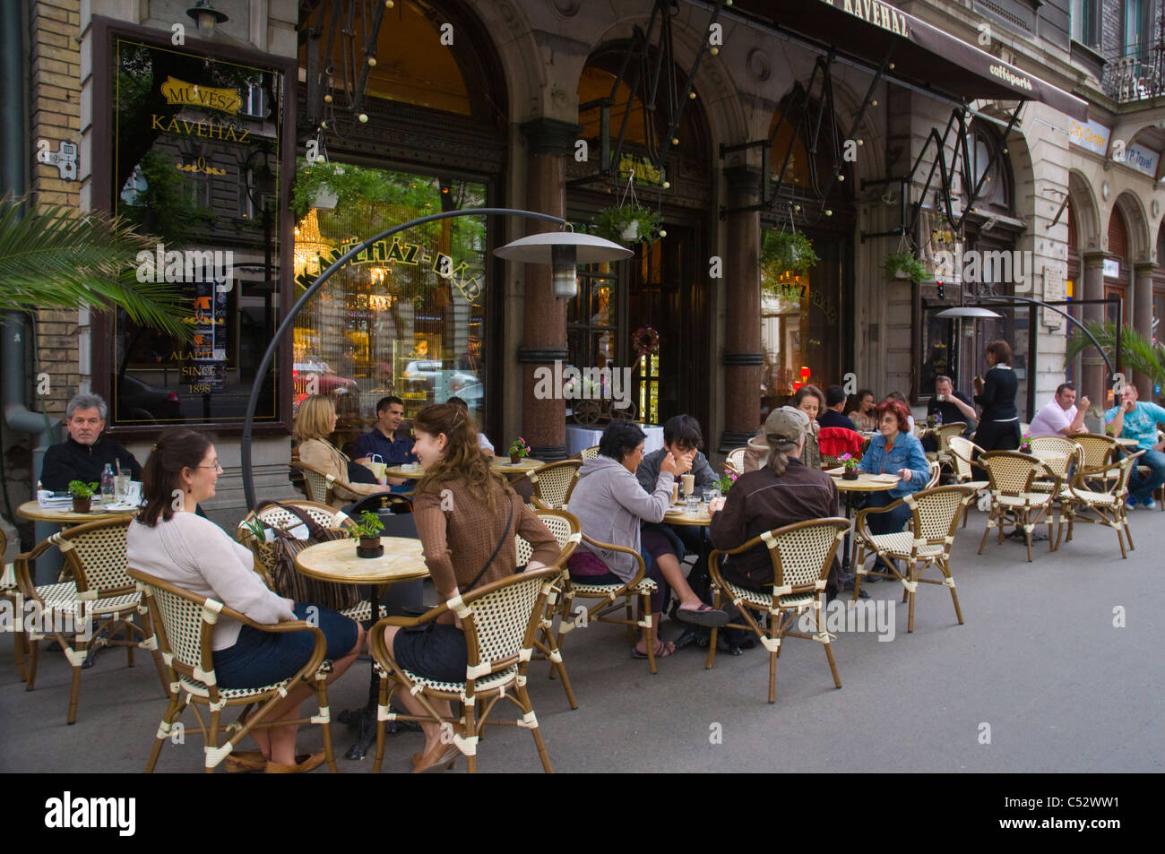 Cafe along Andrassy Utca boulevard central Budapest Hungary Europe - Stock Image
