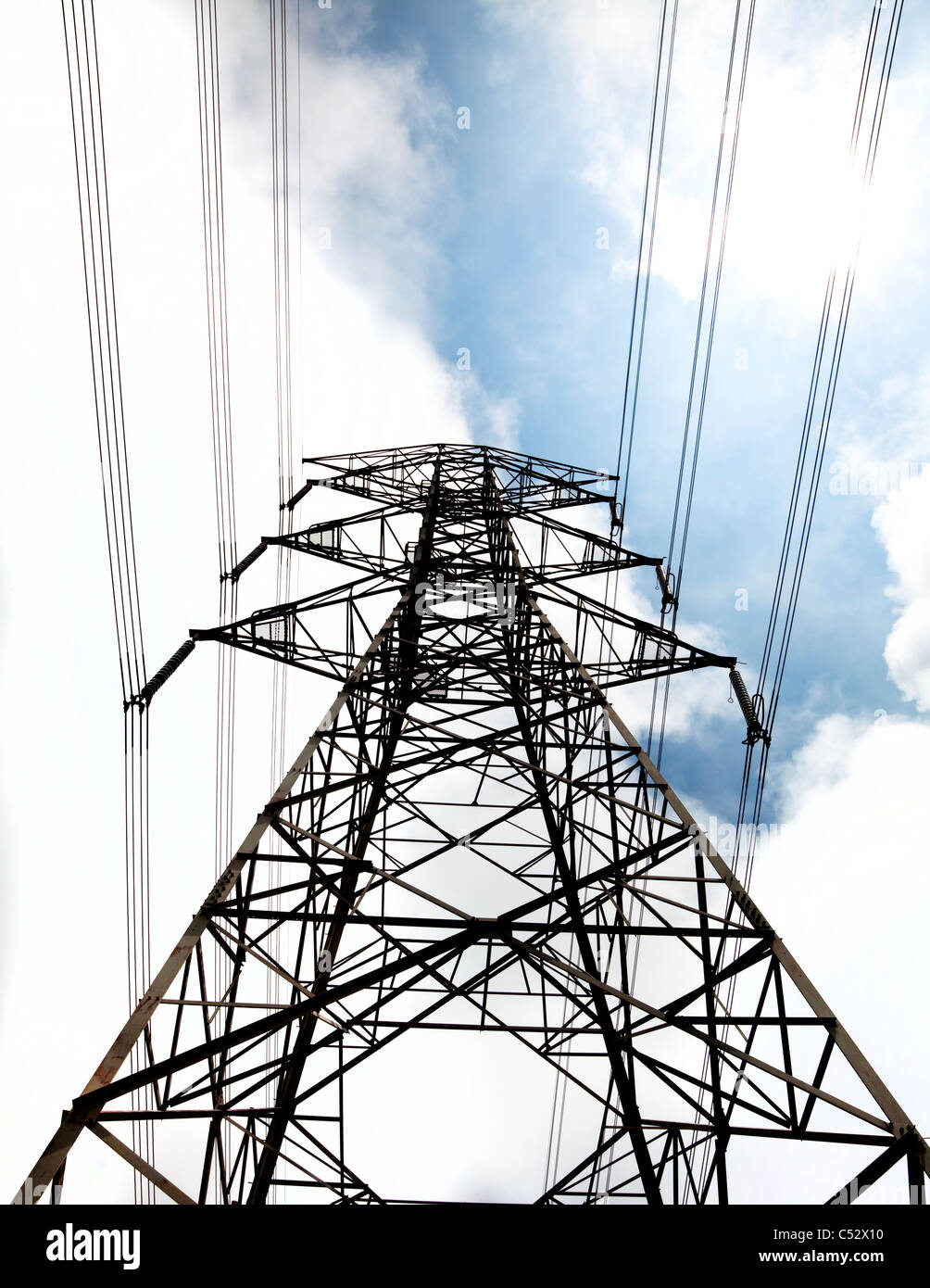 power tower with cloud background - Stock Image