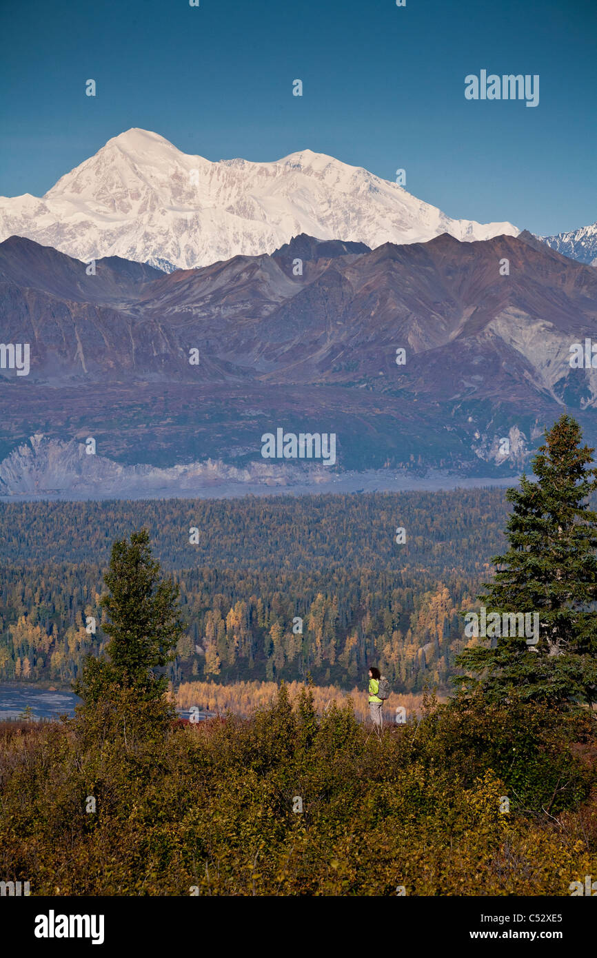 Woman hiking on Kesugi Ridge at Little Coal Creek trail, view of Mt. McKinley in the Alaska range, Denali State - Stock Image